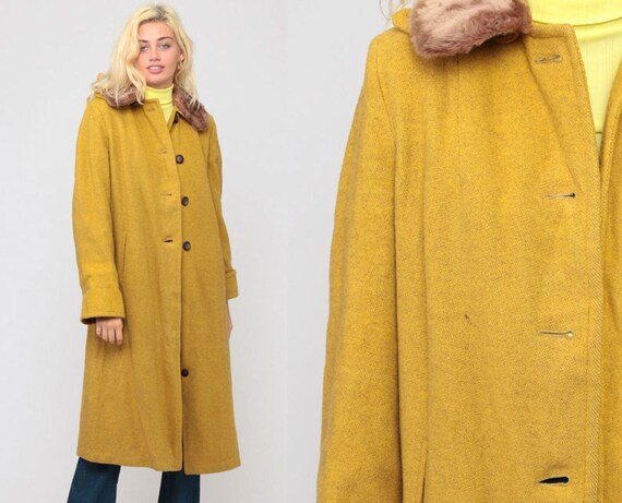 Long Wool Coat Mustard Jacket 70s Jacket Mod Coat Yellow FAUX FUR COLLAR Jacket Vintage 60s Bohemian Winter Hipster 1970s Boho Medium