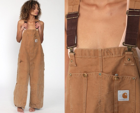 80s Carhartt Overalls 1989 Brown Streetwear Cargo Dungarees Tan Coveralls Workwear Utility Wide Leg Jeans Work Wear Vintage Extra Large xl