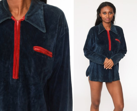 Navy Blue Velour Shirt Zip Up Shirt Long Sleeve Shirt 70s Soft Retro Top 1970s Boho Freaks and Geeks Large xl l