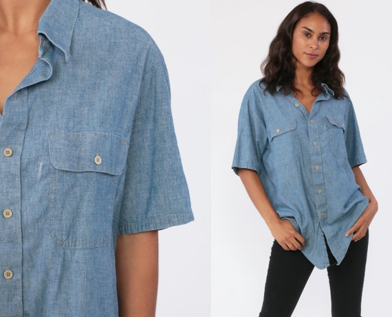 Button Up Shirt CHAMBRAY Shirt Jean 70s Blue Short Sleeve Hipster Oxford 1970s Cotton Button Down Distressed Lightweight Extra Large xl l