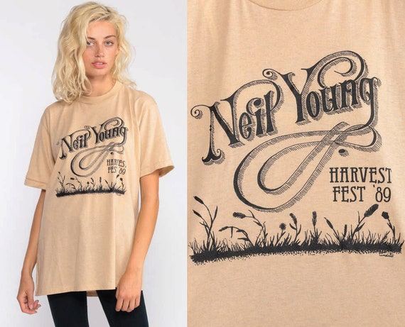 Neil Young Shirt Vintage 1989 Tour Tshirt Band T Shirt 80s Harvest Fest Original Jerzees Rock Tee Shirt 1980s Concert Tee Medium Large