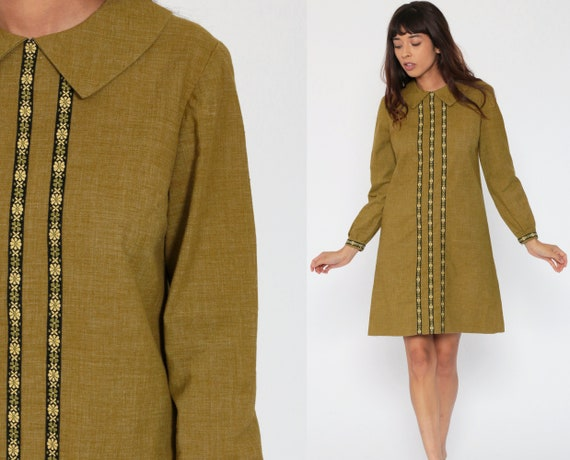 Mod Mini Dress 60s PETER PAN Collar Olive Green Floral Trim Shift Dolly 1960s Hippie Vintage Sixties Twiggy Long Sleeve Small Medium