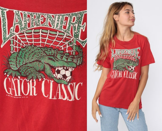 NOLA Soccer Shirt 80s Lafreniere Park Shirt New Orleans TShirt Sports Jersey Graphic T Shirt Distressed Gator Classic Vintage 1980s Small S