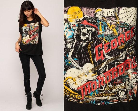 George Thorogood Shirt Vintage Band TShirt THE DESTROYERS 1989 Tour Skeleton Band Tank Top 80s Rock t shirt Concert 1980s Medium Large