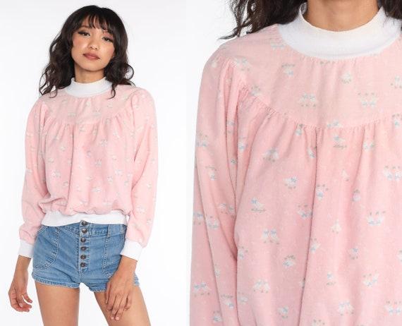 80s Pajama Shirt Bird Sleep Shirt Pink Ringer Pajama Top 80s Night Shirt Kawaii Print Vintage Long Sleeve Lanz of Salzburg Small Medium