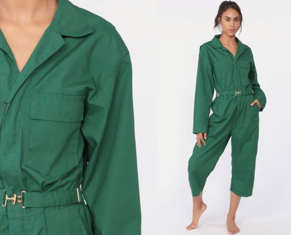 90s Coveralls Pants -- 1990s Boiler Suit Cropped Workwear One Piece Work Wear Jumpsuit Onesie GREEN Vintage Pantsuit Mechanic Small Medium