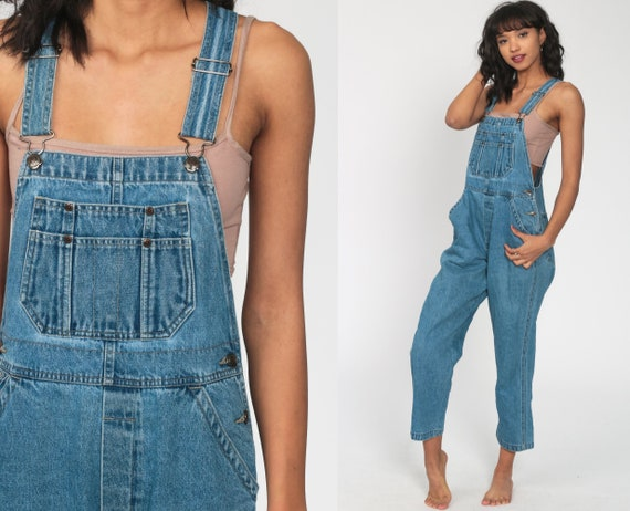 Denim Overalls Pants 80s Bib Overalls Jeans St Johns Bay Workwear Baggy Blue Long Jean Dungarees 1990 Vintage Carpenter Small