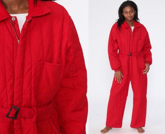 Vintage Ski Suit Red ONE PIECE Snowsuit 70s Puffy