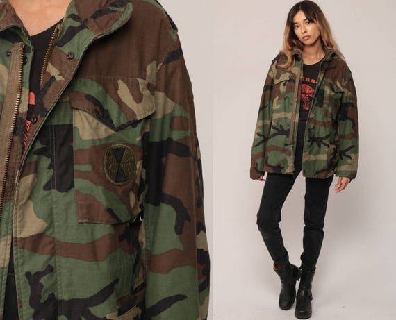 Camouflage Jacket CAMO Military Jacket Army Olive Green Brown Grunge 80s Commando Cargo Oversized 1980s Vintage Hipster Small short