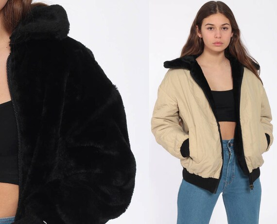 Reversible Faux Fur Coat Black 70s Fake Fur Jacket Tan 80s Bomber Jacket Bohemian Vintage Winter Coat Boho Small