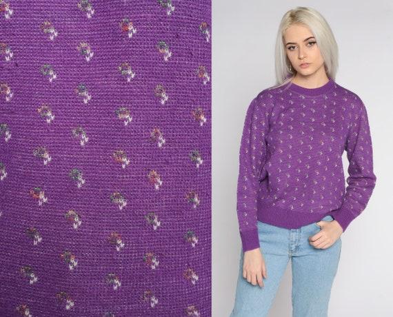 Purple Geometric Sweater 80s Knit Jumper 1980s Bohemian Crewneck Vintage Pullover Acrylic Medium