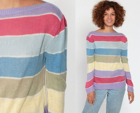 Pastel Sweater 80s Striped Sweater Puff Sleeve Baby Blue Pink Knit Boatneck Slouchy Pullover 1980s Vintage Boat Neck Small