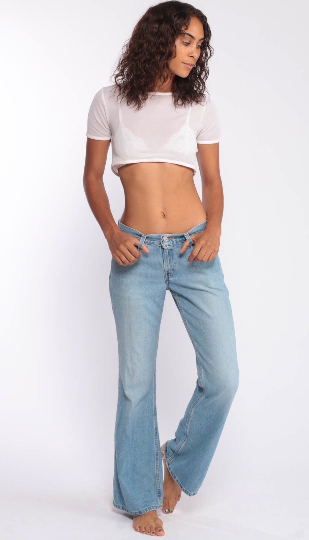 569f8544 90s Flared LEVIS Jeans -- 00s Jeans Levi 514 Low Rise Bell Bottoms ...