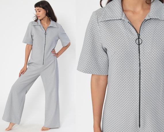 70s Jumpsuit Grey Bell Bottom Pants Boho Hippie Deep V Neck Front Zip Up Disco Bohemian Blue Vintage Pantsuit Short Sleeve Medium Large Tall