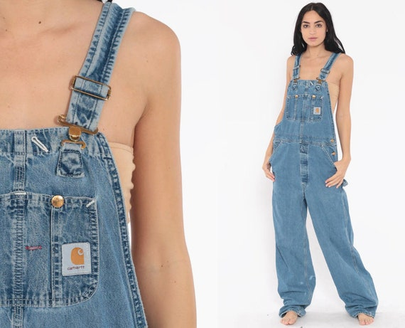 Carhartt Overalls Small Dungarees Bib Jean Overalls Denim Pants GRUNGE Suspender Blue Pants Baggy Long Vintage Coveralls