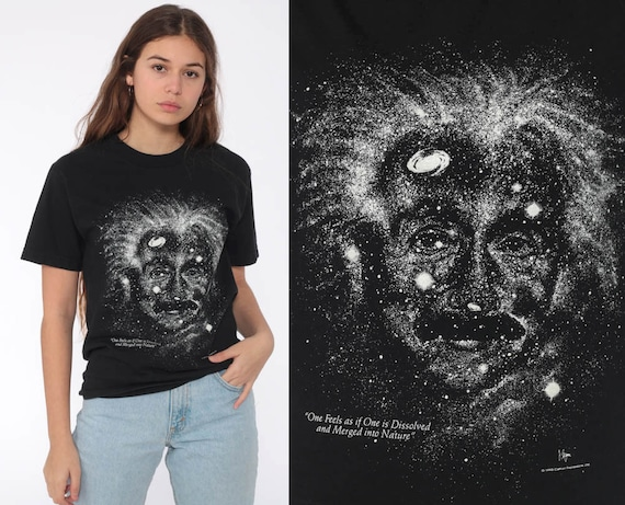 Albert Einstein Shirt GLOW in THE DARK Outer Space T Shirt Vintage Galaxy Tshirt Science 1993 Tee Black Galactic Graphic Extra Small xs