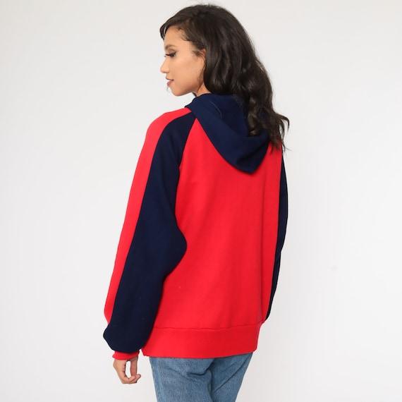 Hoodie Sweatshirt Red Zip Up Sweatshirt 80s Hoode… - image 5