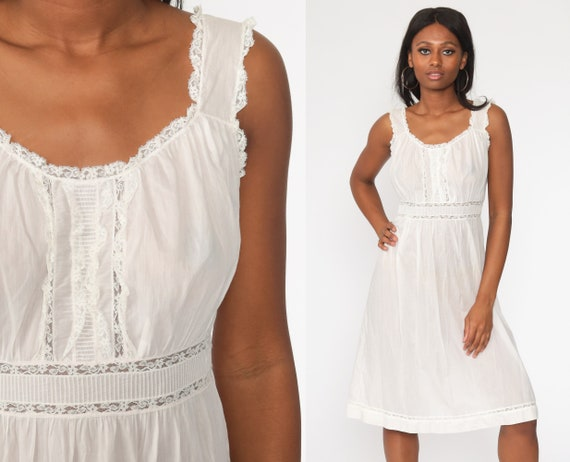 White Nightgown Dress 80s Peasant Milkmaid Slip Dress Midi Summer Boho Lingerie 70s Vintage Semi-Sheer Bohemian Nightie Small Medium