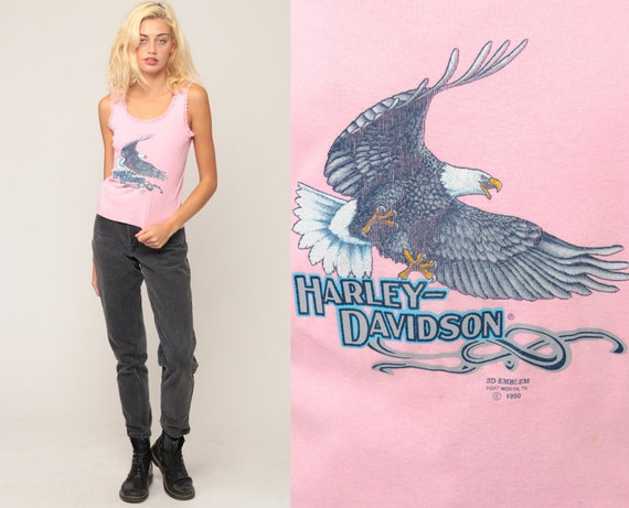 Harley Davidson Shirt Biker Tank Top 90s Motorcycle Eagle Shirt 1990s Rocker Camisole Biker Chick Rock Baby Pink Small Medium