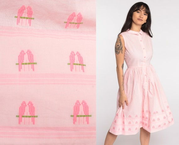 1960s Day Dress Bird Dress Baby Pink Cotton 60s Cotton Day Dress Pastel Peter pan collar Midi Button Up Pin Up Vintage Length Extra Small xs