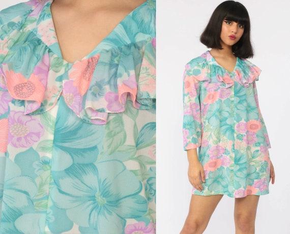 Floral Nightgown Lingerie 70s Lounge Night Dress Ruffle Pajama Dress Nylon Nightie Hippie Pink Blue Vintage 1970s Tent Small Medium