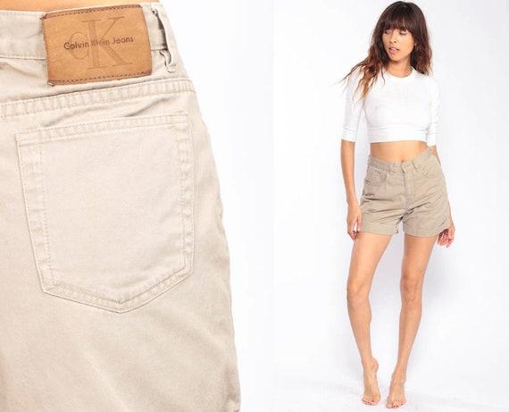 Khaki Shorts Calvin Klein Shorts High Waisted Shorts Mom Shorts 90s Shorts Cuffed Cotton Tan Vintage Retro Hi Rise Waist Extra Small xs 26 2