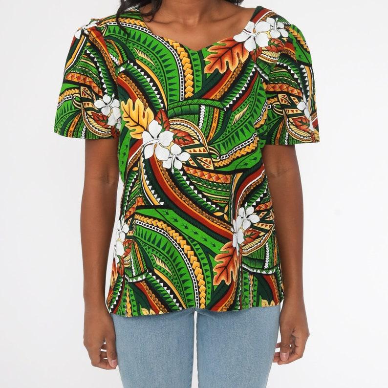 Hawaiian Shirt Tropical Shirt 70s Blouse Green Floral Print Puff Sleeve Shirt 1970s Boho Top Summer Hibiscus Surfer Jungle Shirt Large L