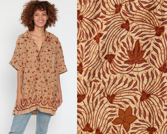 Men's Batik Shirt Large Indonesian Shirt Danar Hadi Leaf Print 90s Grunge Hippie Boho Vintage Oversized Button Up Short Sleeve 44