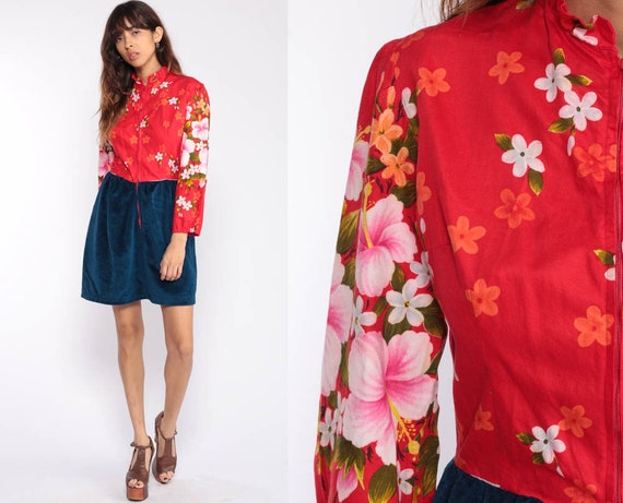 1970s Mini Dress Floral Print 60s Mod Red Blue Velour 70s Boho High Waisted Twiggy Long Sleeve Vintage Bohemian Front Zip Small Medium