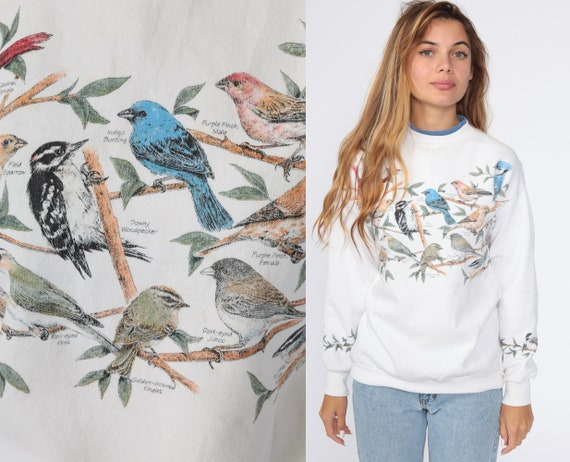 Bird Sweatshirt Finch Woodpecker Shirt 80s Sweatshirt 90s Jumper Graphic Retro Pullover 80s Sweater Extra Small xs
