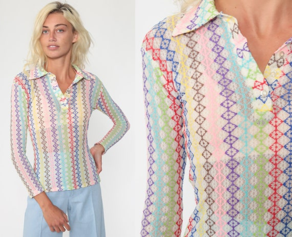 Rainbow LACE Top 70s Blouse Button Up Boho Shirt Party 1970s Hippie Long Sleeve Vintage Mod Bohemian Romantic Dagger Collar Extra Small xs s