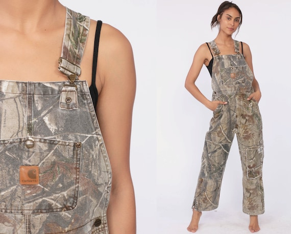 Realtree Carhartt Overalls Baggy Pants GRUNGE Cargo Camo Dungarees Brown Hunting Coveralls Workwear Bib Pants Leg Jeans Work Vintage Small