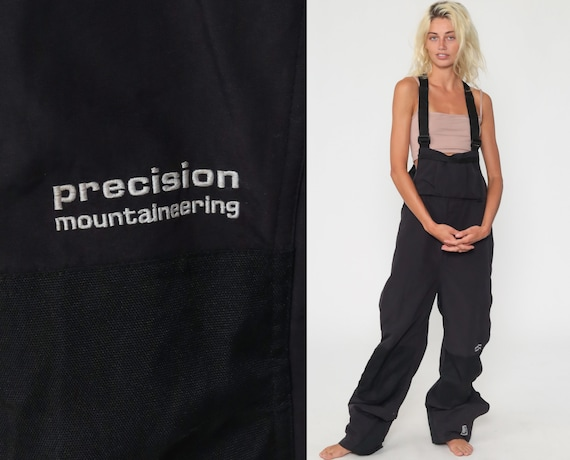 Mountaineering Pants 90s Black Baggy Jumpsuit Suspender Pants Workwear Pants Work Wear Overalls 1990s Coveralls Extra Large XL