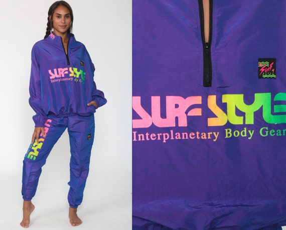 90s Surf Style Tracksuit Neon Purple Iridescent TWO PIECE Track Jacket Outfit Windbreaker Jogging Pants Track Suit Streetwear Vintage Small