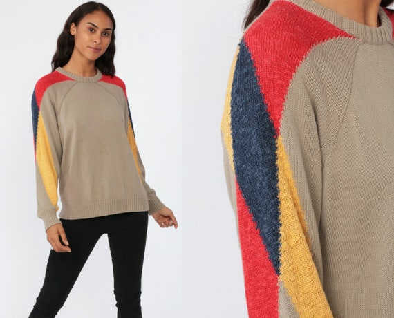 Cotton Striped Sweater Taupe Knit Raglan Sleeve 80s Pullover Tan Retro Nerd Slouch Hipster Boho Jumper Vintage Grunge Small Medium