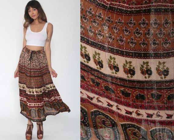Metallic Broomstick Skirt Boho Skirt Gypsy Maxi Hippie  Indian Gauze 90s Bohemian India Floral Skirt Black Brown 1990s Ethnic Medium Large