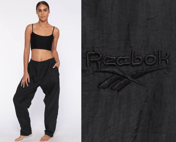 Reebok Track Pants 90s Jogging Black Track Suit Streetwear Nylon Athletic Sports Vintage Gym Jogging Running Joggers Extra Large xl