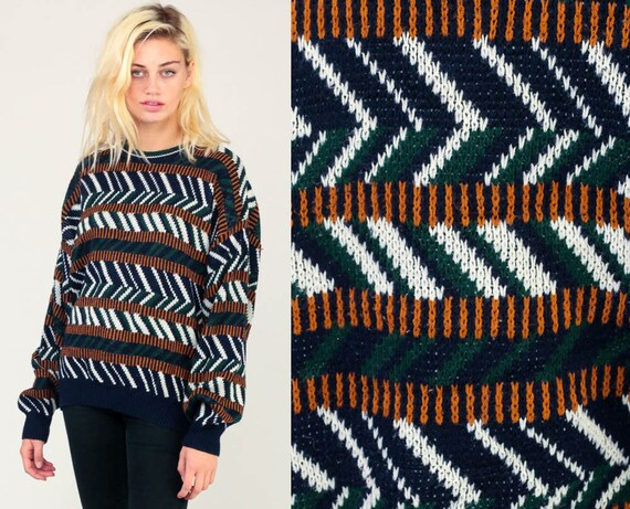 Striped Sweater 80s Knit Grunge Sweater Slouch Hipster 1980s Jumper Vintage Pullover Retro Zig Zag Blue Green White Extra Large xl