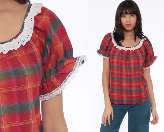 Plaid Puff Sleeve Shirt 70s Eyelet Lace Boho Top Red Peasant Blouse Western Cowgirl 80s Vintage Checkered Shirt Short Sleeve Small