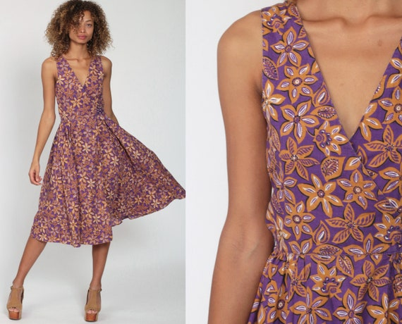 Cotton Wrap Dress Purple Floral Dress Boho Midi Deep V Neck 90s SunDress High Waist Vintage Sun Sleeveless Bohemian Extra Small xs