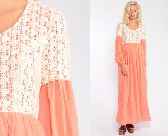 Boho Maxi Dress 70s Bohemian Peach Lace Dress Party CROCHET 1970s Empire Waist Vintage Hippie Festival Long Sleeve Dress Extra Small xs