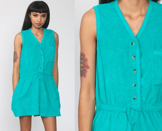 Turquoise Summer Romper 80s TERRY CLOTH Romper Shorts Playsuit High Waist 1980s One Piece Vintage Sleeveless Tank Medium