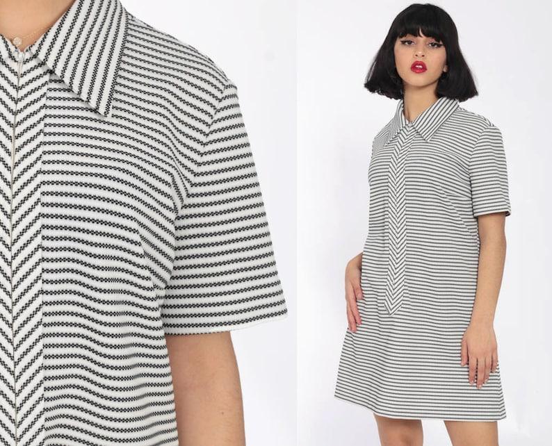 70s Mini Dress Black White Striped 60s
