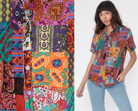 Patchwork Shirt Hippie Blouse Grunge 90s Boho Top Tribal Paisley Color Block Short Sleeve Bohemian Button Up Vintage Small