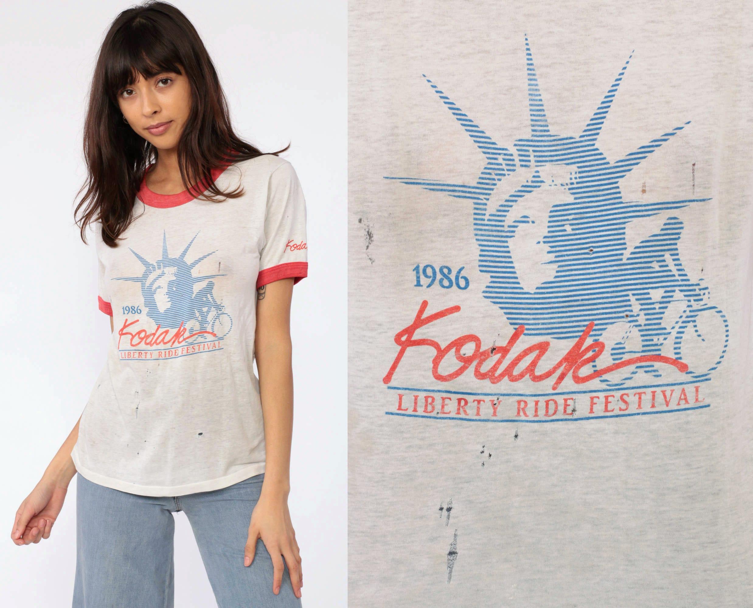 Kodak Ringer Shirt Liberty Ride Festival 1986 White