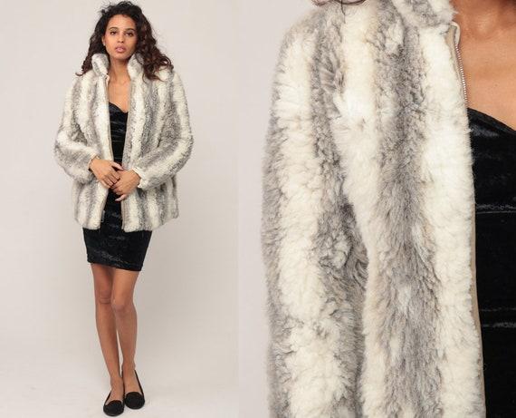 Faux Fur Jacket 80s FUZZY Coat Vegan Vintage 70s Bohemian Grey Chunky Animal Winter Striped Zip Up 1980s Bohemian Boho Extra Small xs