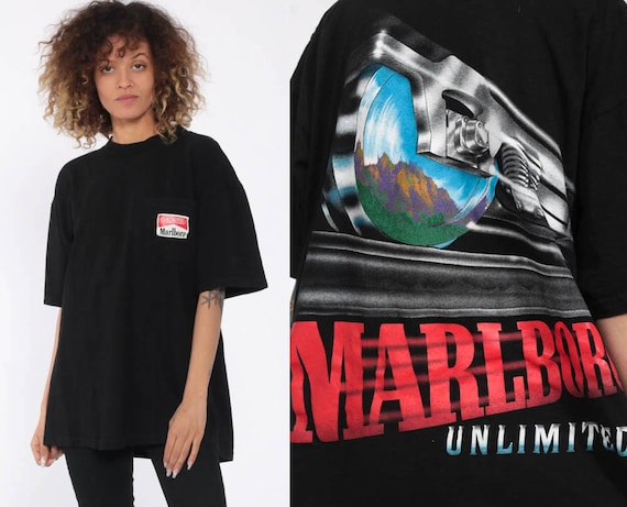 Vintage Marlboro Shirt Cigarette Train Marlboro Unlimited Tshirt Smokers T Shirt 90s Vintage Retro Oversize Black Pocket Small Medium Large