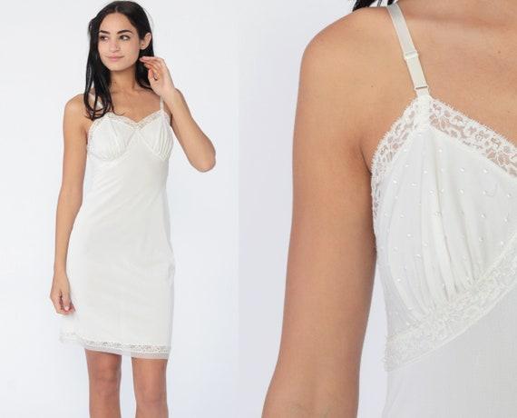 White Slip Dress 70s LACE Sheer Lingerie Nightgown Nylon Mini Boho V Neck Vintage 80s Empire Waist Spaghetti Strap Bohemian Extra Small xs
