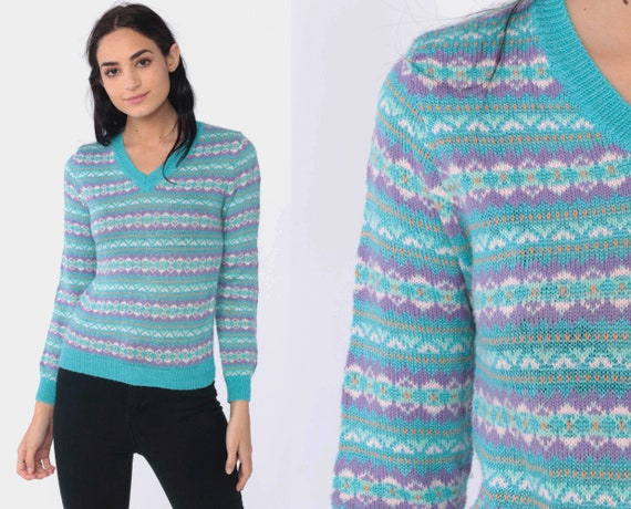 Blue Fair Isle Sweater Boho Sweater 80s Geometric Striped Print V Neck Sweater Vintage Knit Bohemian Turquoise Pullover Jumper Medium