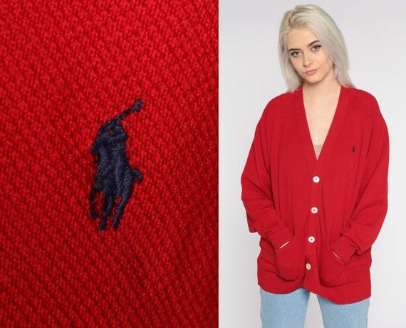 Ralph Lauren Cardigan 90s Sweater Red Wool Sweater Button Up Cardigan Grandpa Vintage Preppy Sweater Medium Large